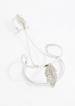 Silver Glistening Leaf Hand Chain