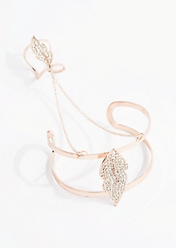 Rose Gold Glistening Leaf Hand Chain