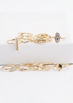 12-Piece Golden Leaf Ring Set