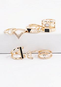 8-Piece Black & White Stone Ring Set
