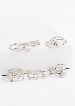 Stone Leaf Midi Ring Set