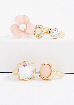 5-Piece Crystal Floral Ring Set