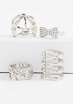 5-Piece Diamante Bow Caged Ring Set