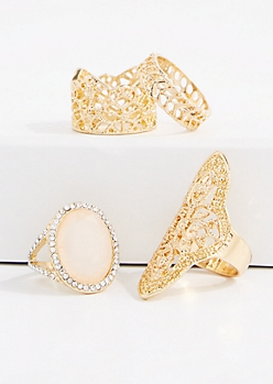 4-Piece Filigree Shield Ring Set