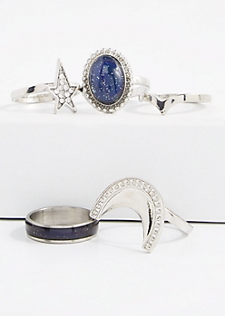 5-Piece Cabochon Mood Ring Set