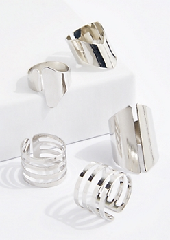 5-Piece Silver Metal Cuff Ring