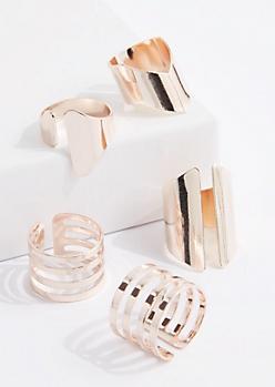 5-Piece Rose Gold Metal Cuff Ring