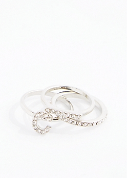 Crystal Initial C Ring Set