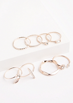 8-Pack Rose Gold Daisy Geo Ring Set