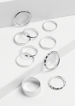 10-Pack Silver Mixed Stacking Rings
