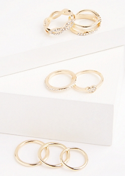 7-Pack Silver Twisted Stone Ring Set