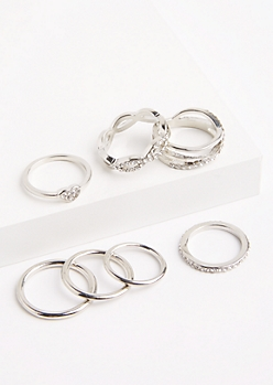 7-Pack Golden Twisted Stone Ring Set