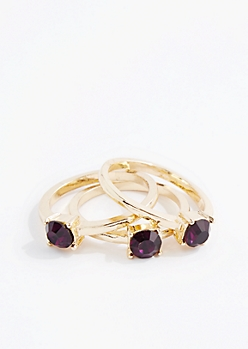 February Stone Ring Set