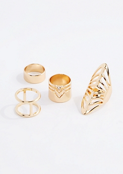 Gold Geo Boho Midi Ring Set