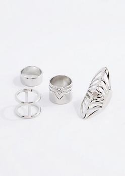 Silver Geo Boho Midi Ring Set