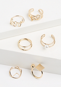 6-Pack Gold Mixed Caged Ring Set