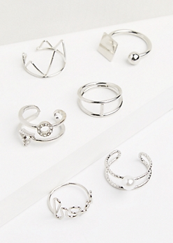 6-Pack Silver Mixed Caged Ring Set