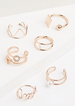 6-Pack Rose Gold Mixed Caged Ring Set