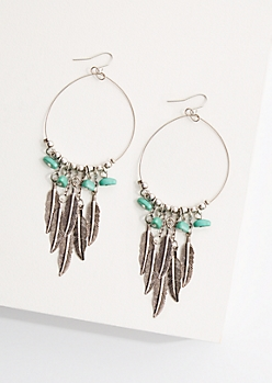 Feather Fringe Drop Hoop Earrings