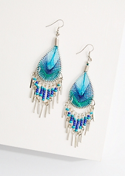Blue Green Teardrop Dreamcatcher Earrings