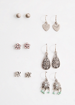6-Pack Boho Elephant Earring Set