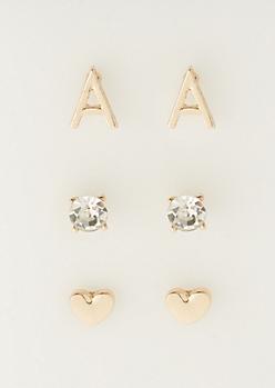 3-Pack A Initial Stud Earrings