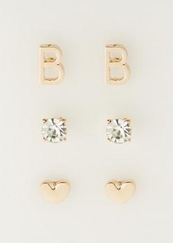 3-Pack B Initial Stud Earrings