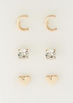 3-Pack C Initial Stud Earrings