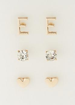 3-Pack E Initial Stud Earrings