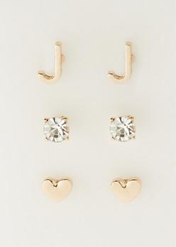 3-Pack J Initial Stud Earrings