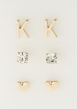 3-Pack K Initial Stud Earrings