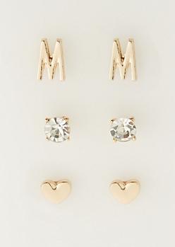 3-Pack M Initial Stud Earrings