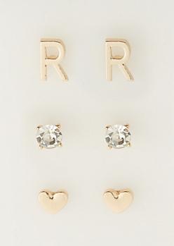 3-Pack R Initial Stud Earrings