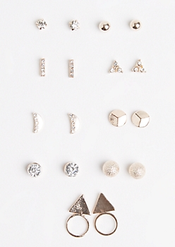 9-Pack Star Shimmer & Geo Earring Set