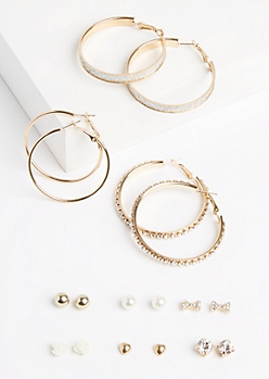 9-Pack Golden Stone Hoop & Rose Earring Set