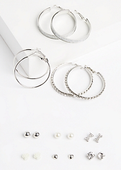 9-Pack Silver Stone Hoop & Rose Earring Set