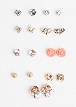 9-Pack Crystal Hearts & Rosy Earring Set