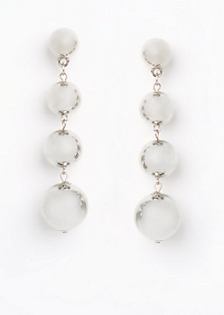 Silver Metallic Quad Drop Earring
