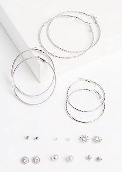 9-Pack Etched Hoop 7 Daisy Earring Set