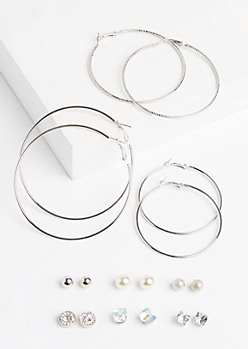 9-Pack Hoop & Medallion Earring Set