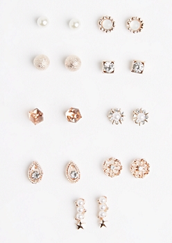 9-Pack Crystal Cubes & Medallions Earring Set