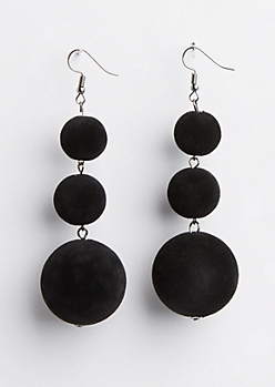 Black Velvet Drop Earrings