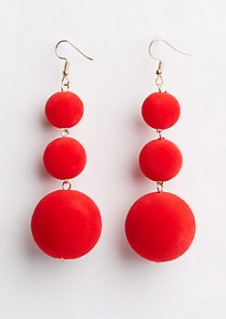 Red Velvet Drop Earrings