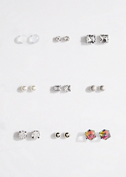 9-Pack Silver Cube Stone Stud Earring Set