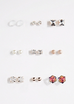 9-Pack Golden Cube Stone Stud Earring Set