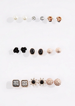 9-Pack Floral Stone Stud Earring Set