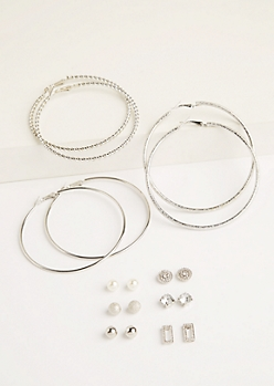 9-Pack Silver Glitter Hoop & Stud Earrings