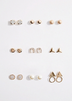 9-Pack Horseshoe Stud Earring Set