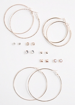 9-Pack Rose Gold Stone Stud & Hoop Earring Set