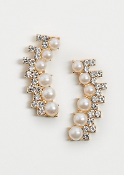 Pearly Stone Crawler Earrings
